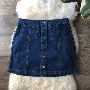 Top shop Moto denim button up mini skirt W28 (71cm
